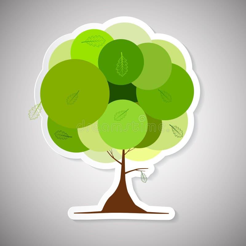 Иллюстрация дерева вектора абстрактная бумажная зеленая бесплатная иллюстрация