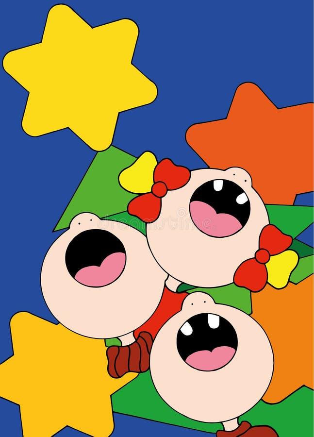 Иллюстрация детей поя песни перед рождественской елкой стоковые изображения