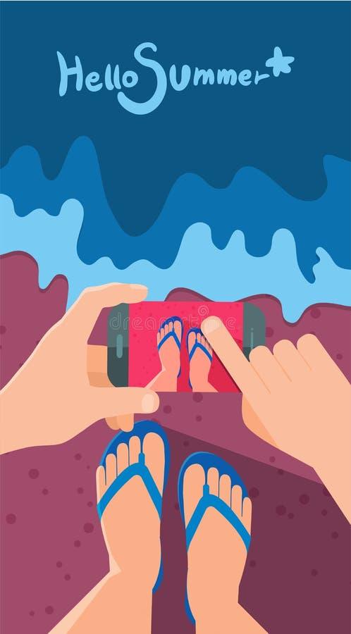 Иллюстрация летних отпусков, плоский дизайн принимая изображение и концепцию памяти иллюстрация штока