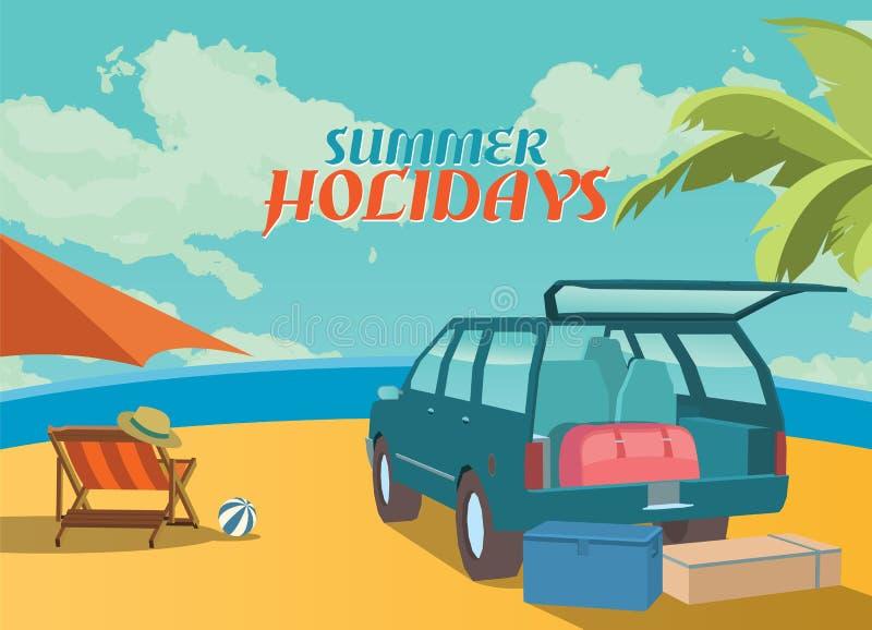 Иллюстрация летних отпусков, плоский ретро пляж дизайна и suv, концепция бесплатная иллюстрация