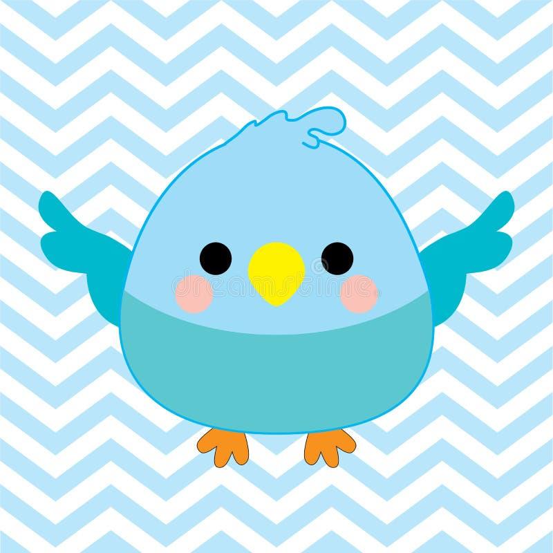 Download Иллюстрация детского душа с милой птицей младенца на голубой предпосылке цвета шеврона Иллюстрация штока - иллюстрации насчитывающей биографической, bluets: 81811990