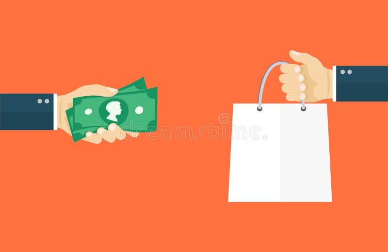 Иллюстрация дела плоская Рука держа деньги и рука держа сумку иллюстрация штока