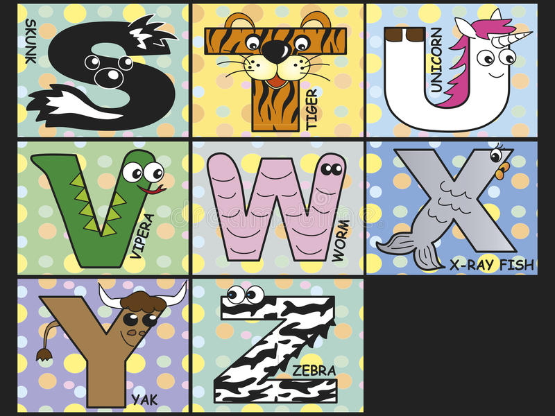 Животный алфавит иллюстрация штока