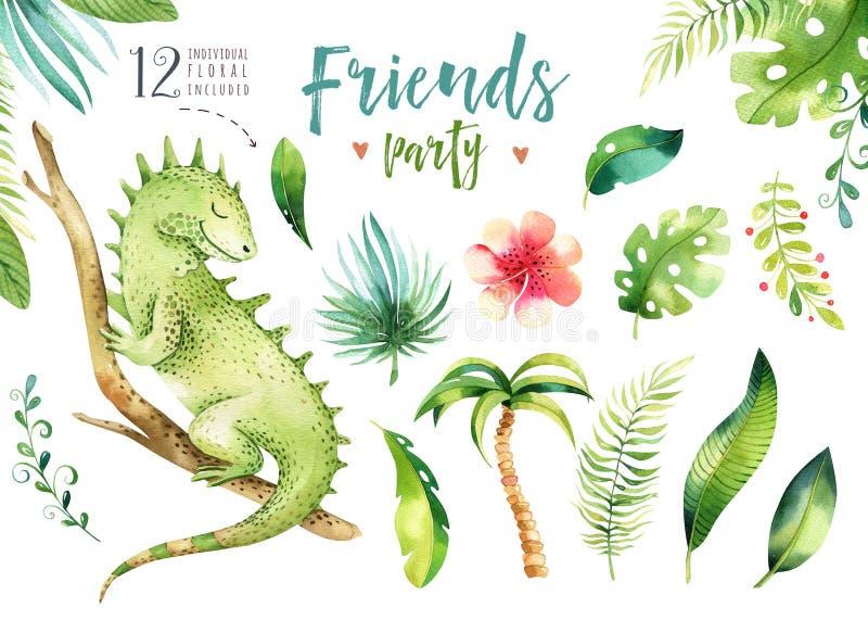 Иллюстрация животных младенца изолированная питомником для детей Чертеж boho акварели тропический, игуана ребенка милая троповая бесплатная иллюстрация