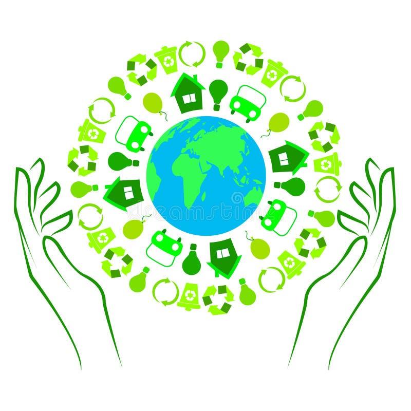 Иллюстрация земли с зелеными значками иллюстрация штока