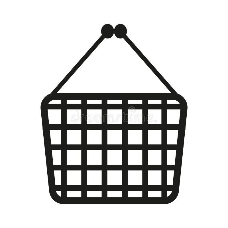 Иллюстрация знака магазинной тележкаи вектор Черный значок на белой предпосылке иллюстрация вектора