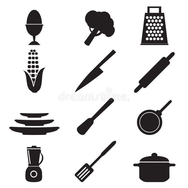 Иллюстрация знака утварей кухни установленная иллюстрация штока