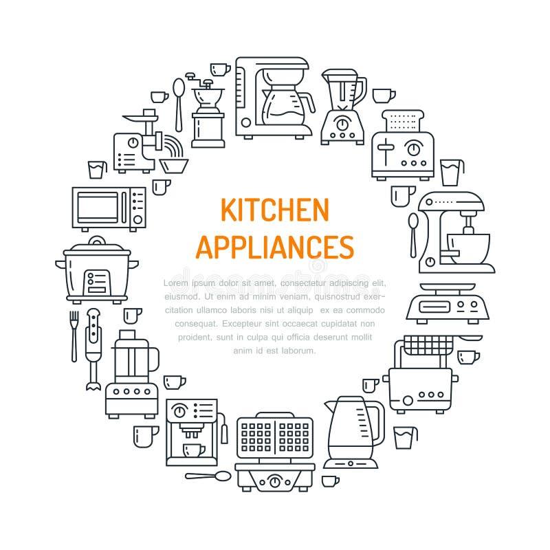 Иллюстрация знамени оборудования приборов кухни малая Vector линия значок домочадца варя смеситель blender инструментов иллюстрация вектора