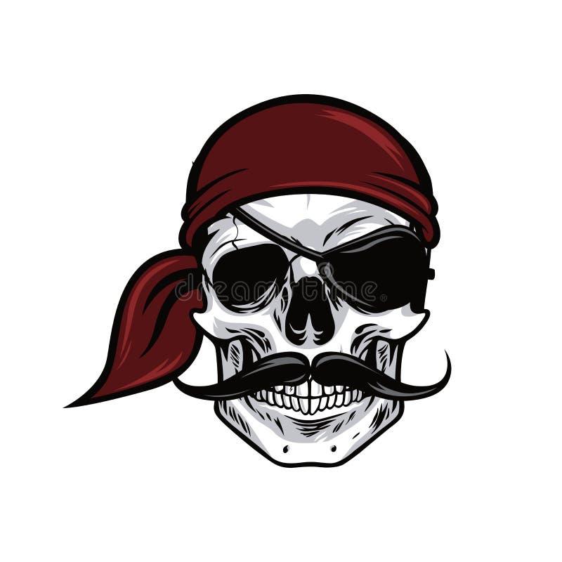 Иллюстрация дизайна вектора талисмана черепа пирата головная иллюстрация вектора