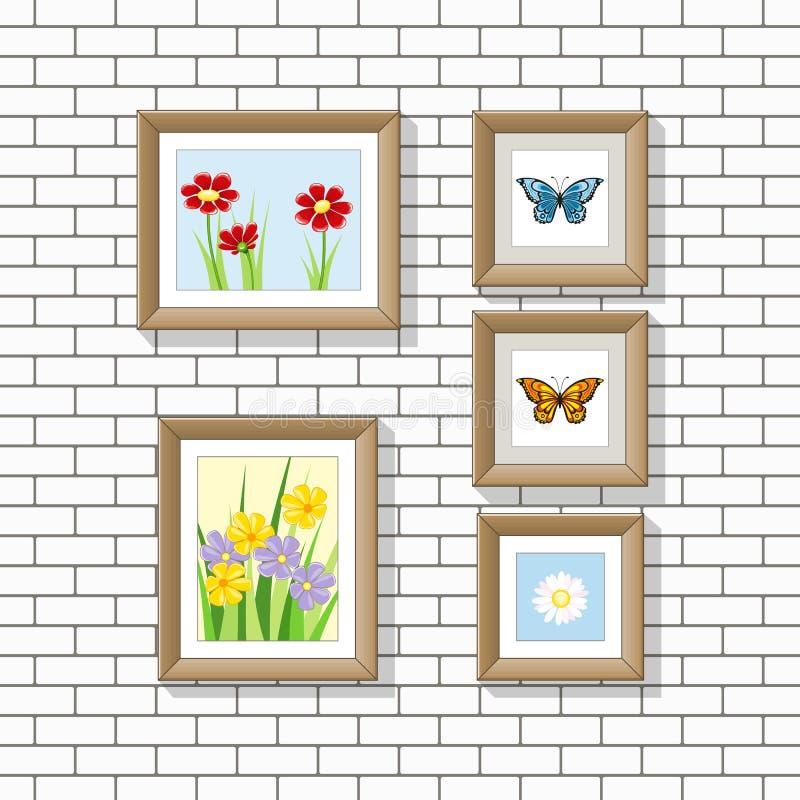Иллюстрация изображений природы на стене иллюстрация штока
