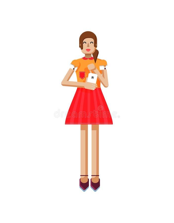 Иллюстрация изолированная европейской девушки с коричневыми волосами в красном цвете flared юбка, блузка, экран касания, smartpho иллюстрация вектора