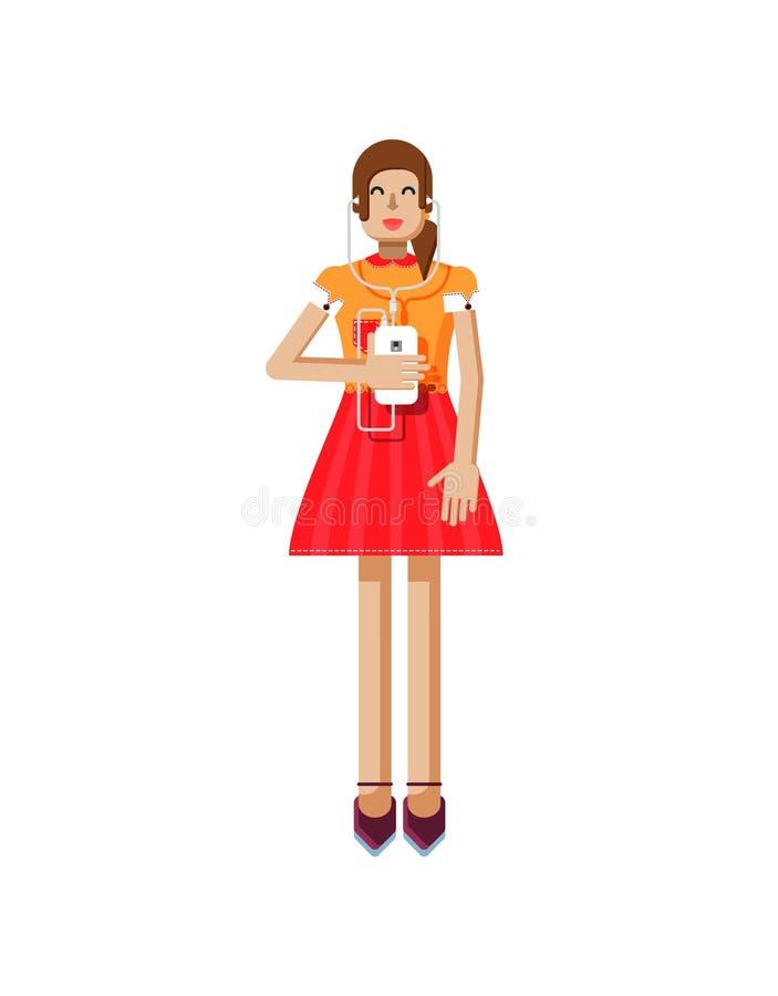 Иллюстрация изолированная европейской девушки с коричневыми волосами в красном цвете flared юбка, блузка, экран касания, smartpho иллюстрация штока
