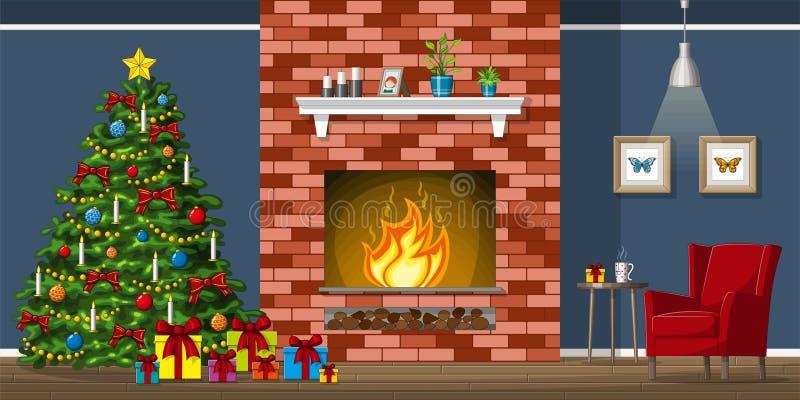 Иллюстрация интерьера живущей комнаты с рождественской елкой иллюстрация штока