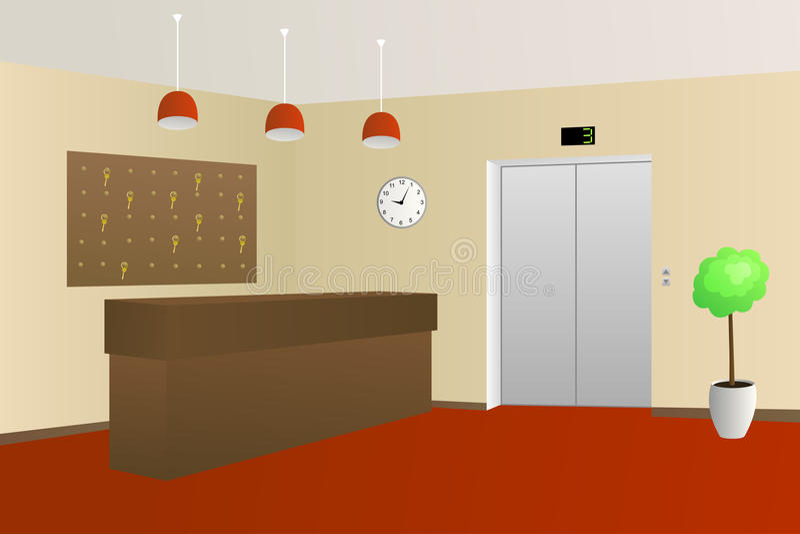 Иллюстрация интерьера приема лобби гостиницы иллюстрация штока