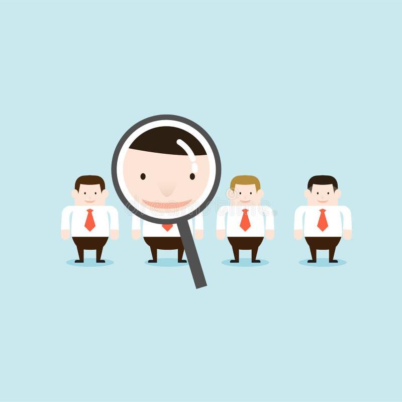 Иллюстрация искать бизнесменов путем использование увеличителя стоковая фотография rf