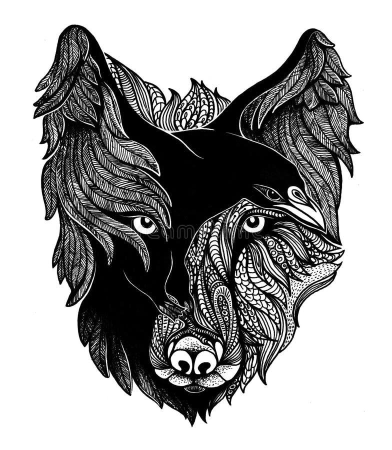 Иллюстрация искусства волка и ворона стоковое изображение
