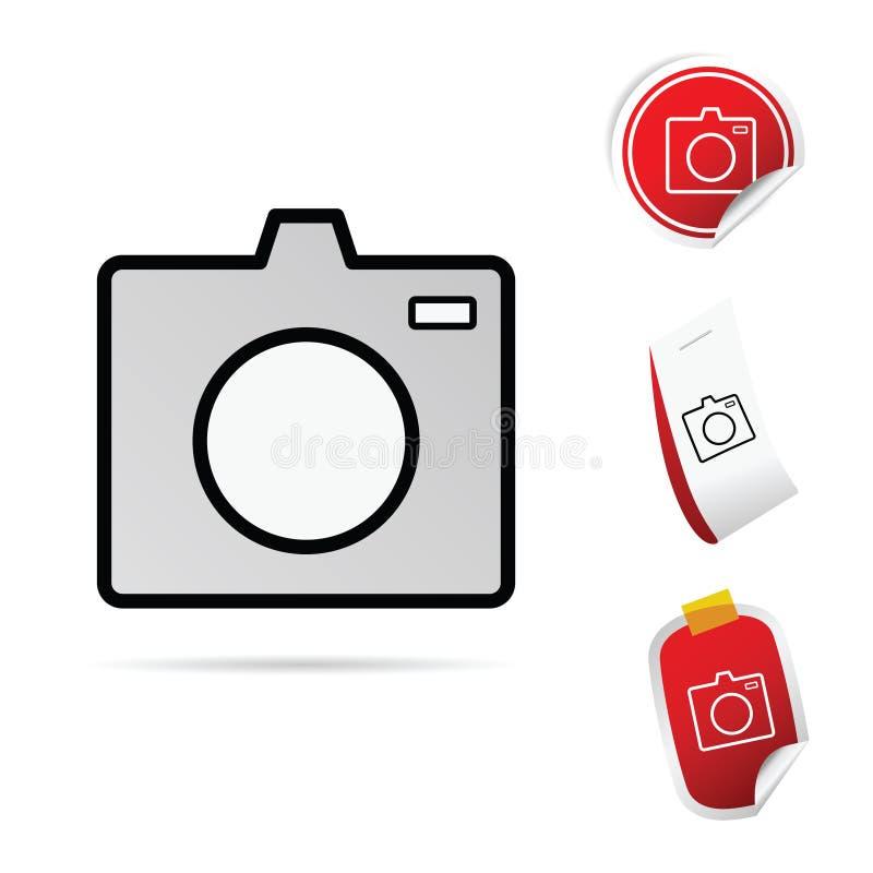 Иллюстрация искусства значка камеры установленная иллюстрация штока