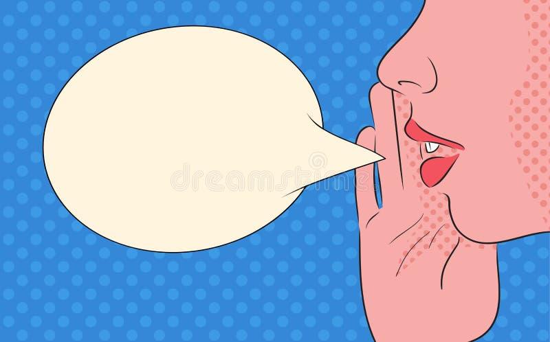 Иллюстрация искусства шипучки девушки кричащей с пузырем речи иллюстрация вектора
