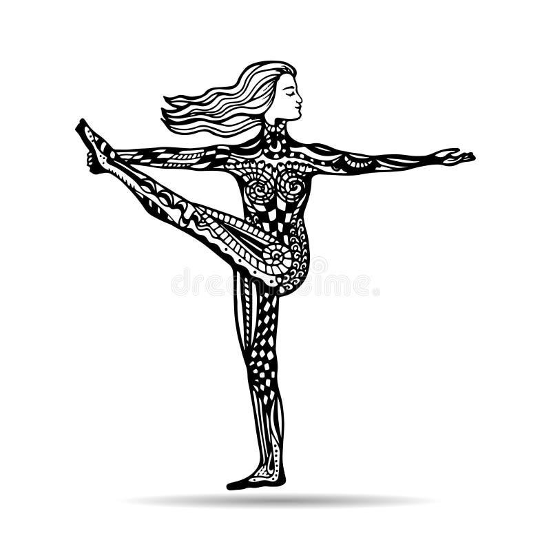 Иллюстрация йоги вектора в стиле zentangle йога представления девушки иллюстрация вектора
