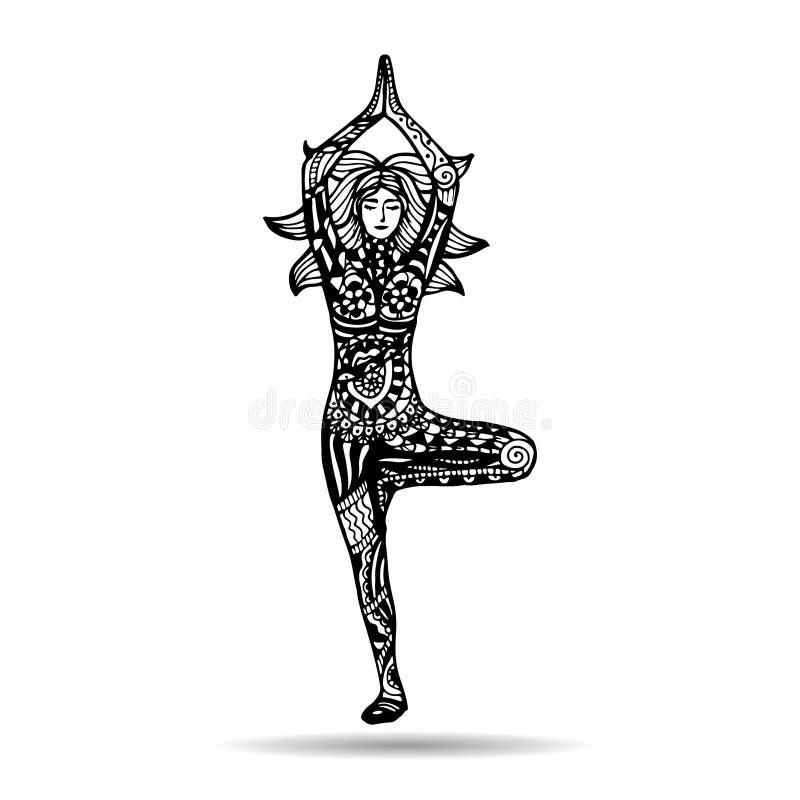 Иллюстрация йоги вектора в стиле zentangle йога представления девушки иллюстрация штока
