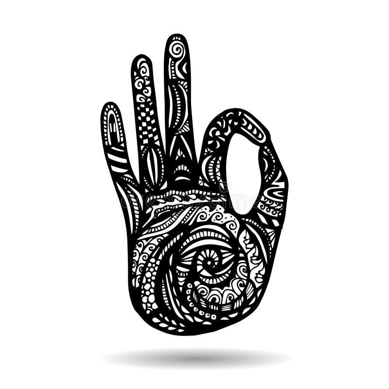 Иллюстрация йоги вектора в стиле zentangle иллюстрация штока