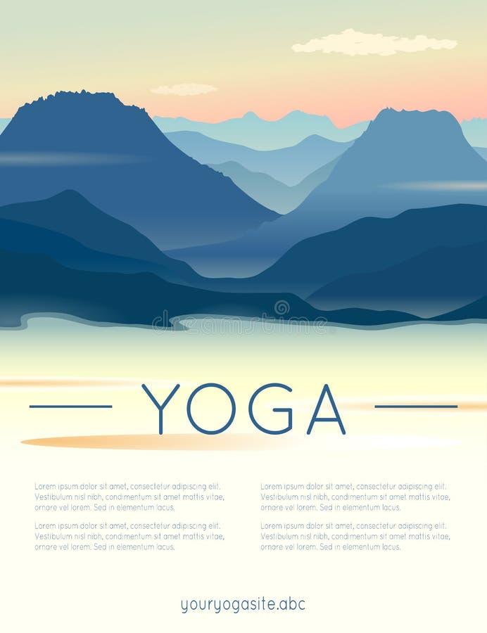 Иллюстрация йоги вектора с ландшафтом гор иллюстрация штока