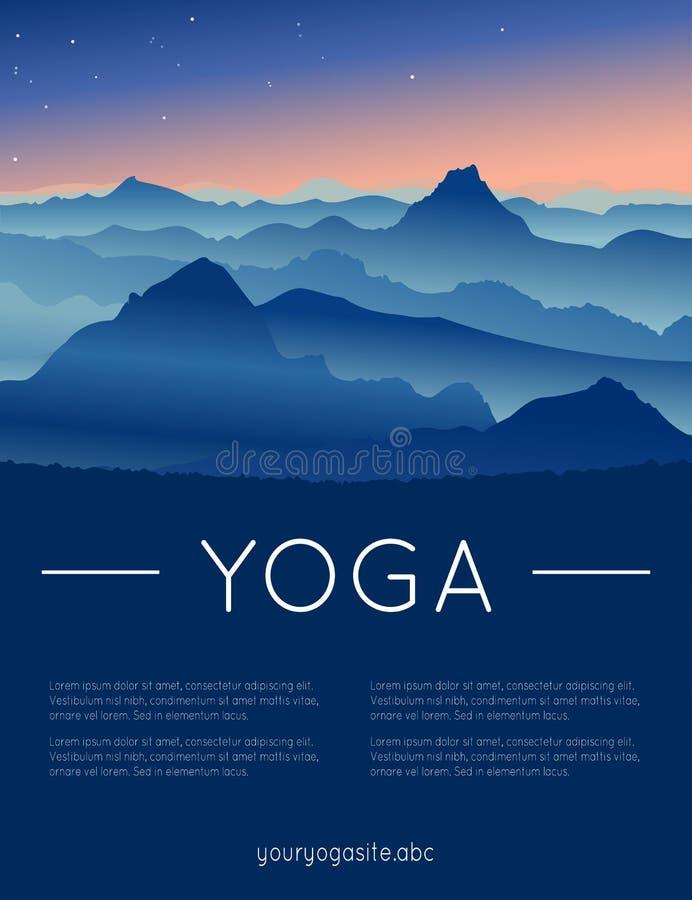 Иллюстрация йоги вектора с ландшафтом гор иллюстрация вектора