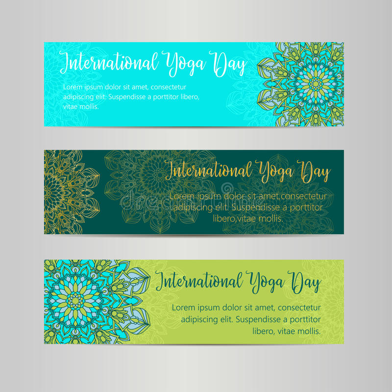 Иллюстрация йоги вектора Шаблон плаката на международный день йоги Рогулька на 21-ое июня, день йоги иллюстрация вектора