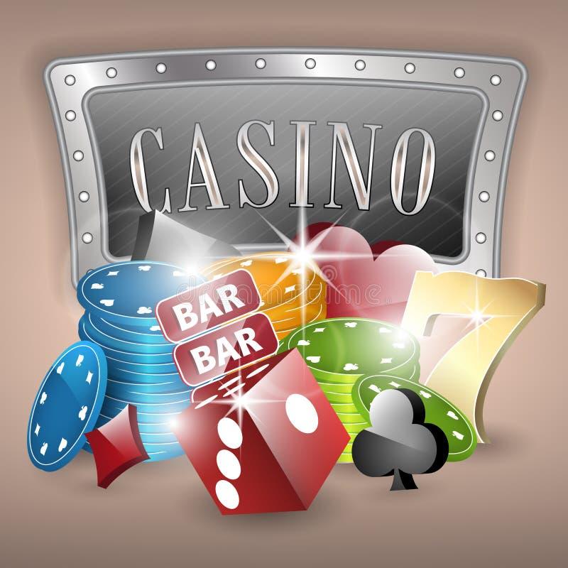 Иллюстрация казино с играя в азартные игры элементами иллюстрация штока
