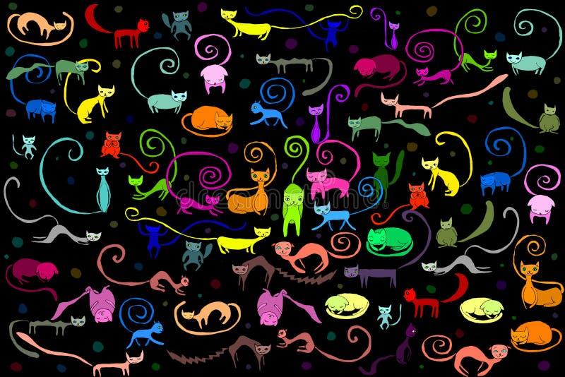 Иллюстрация картины котов иллюстрация вектора