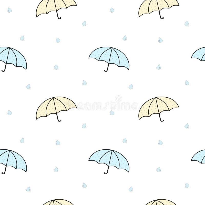 Иллюстрация картины милых пастельных зонтиков шаржа безшовная бесплатная иллюстрация