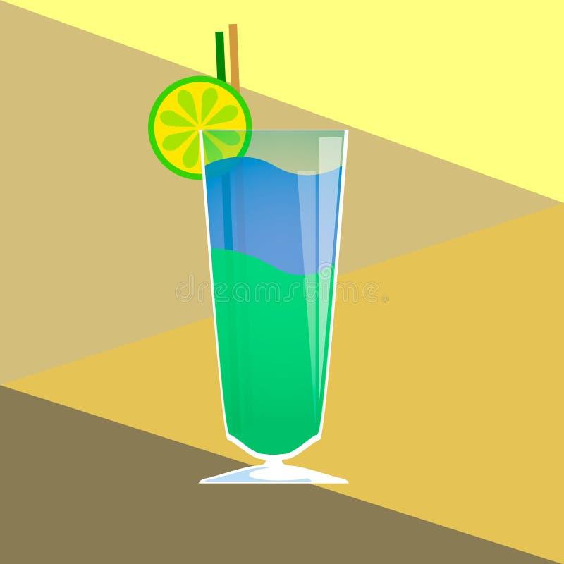 Иллюстрация коктеила голубая лагуна вектор стоковое фото