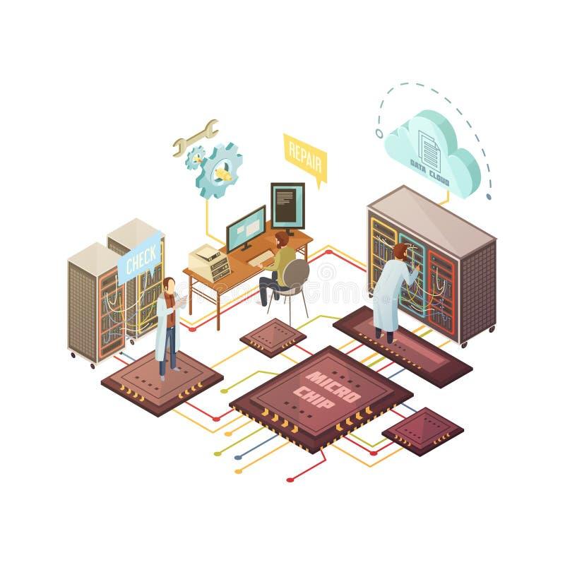 Иллюстрация комнаты сервера равновеликая иллюстрация вектора