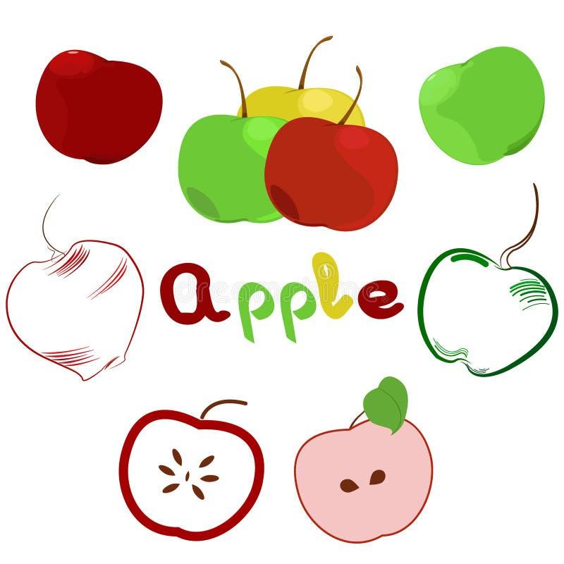Иллюстрация комплекта яблока Логотип, значок, ярлык иллюстрация вектора