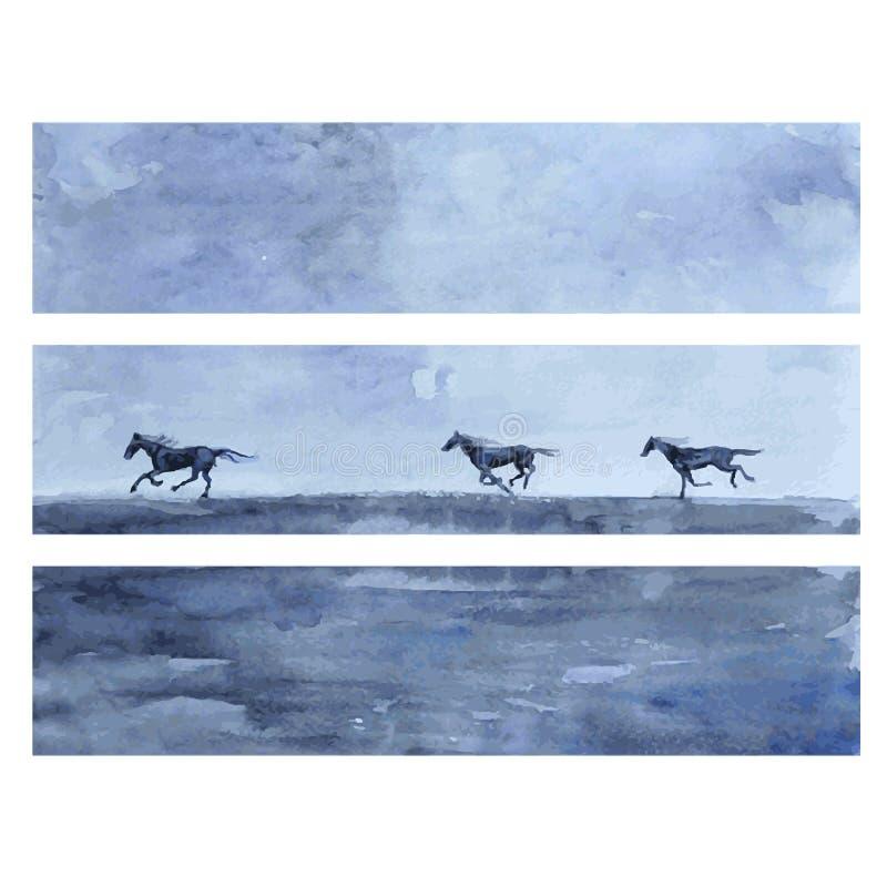 Иллюстрация конспекта вектора акварели лошади нарисованная рукой, горизонтальное знамя с скачками, диким животным, шаблоном иллюстрация вектора