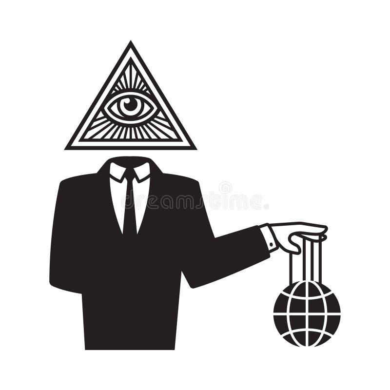 Иллюстрация конспирации Illuminati иллюстрация вектора