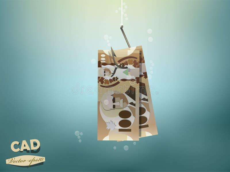 Иллюстрация концепции денег, бумага денег канадского доллара на рыболовном крючке бесплатная иллюстрация