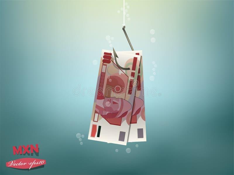 Иллюстрация концепции денег, бумага денег мексиканских песо на рыболовном крючке стоковые фото