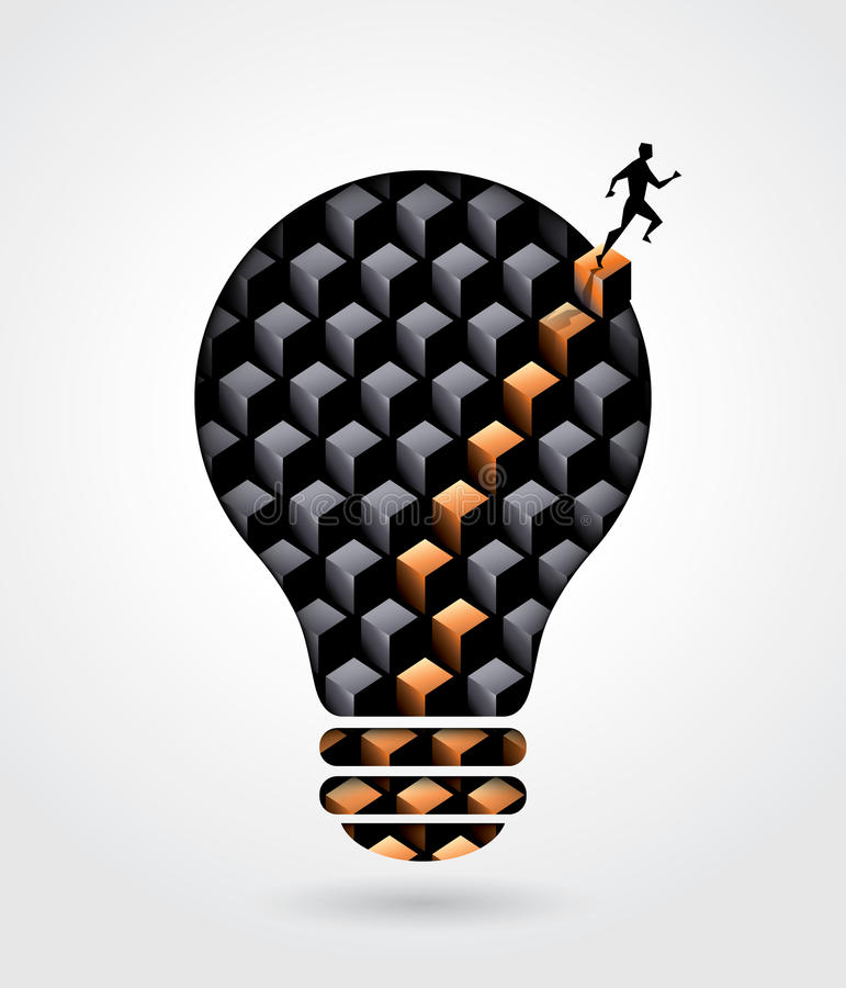 Иллюстрация концепции дела решения творческий думать с a иллюстрация штока