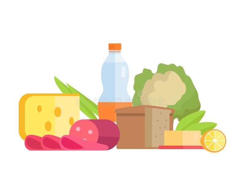 Иллюстрация концепции еды в плоском дизайне стиля бесплатная иллюстрация
