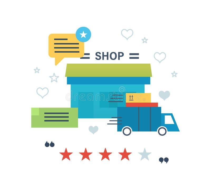 Иллюстрация концепции - онлайн покупки, обзоры и работа оценок магазина иллюстрация штока