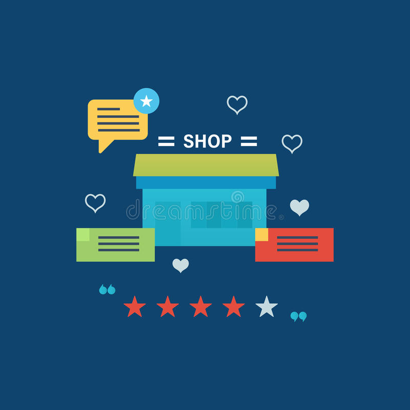 Иллюстрация концепции - онлайн покупки, обзоры и работа оценок магазина иллюстрация вектора