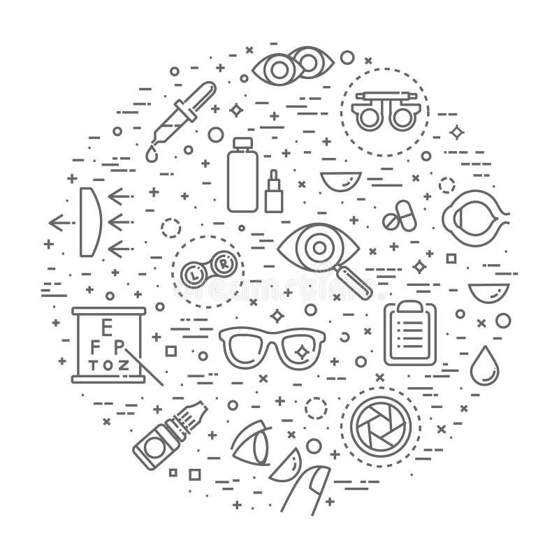 Иллюстрация концепции офтальмологии, тонкая линия, плоский дизайн бесплатная иллюстрация
