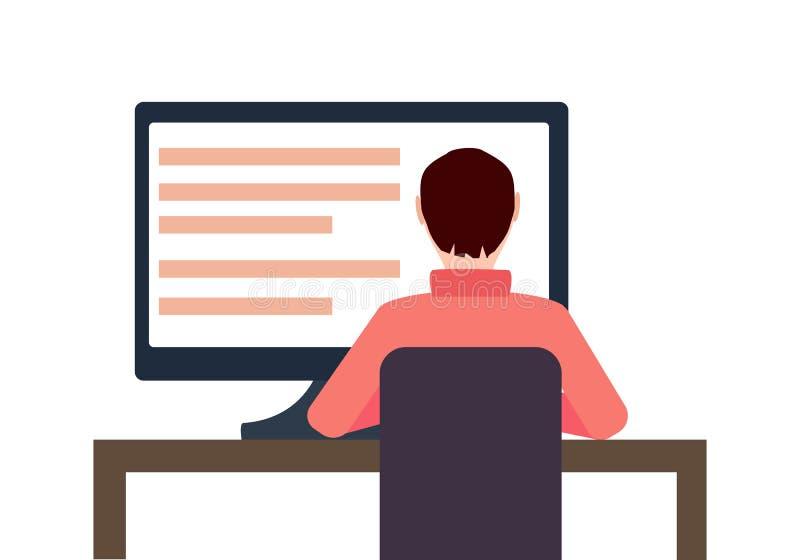 Иллюстрация концепции рабочего места вектора плоская Человек работая на настольном компьютере