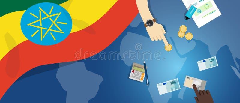 Иллюстрация концепции торговлей денег экономики Эфиопии фискальная финансового бюджета банка с картой и валютой флага иллюстрация вектора