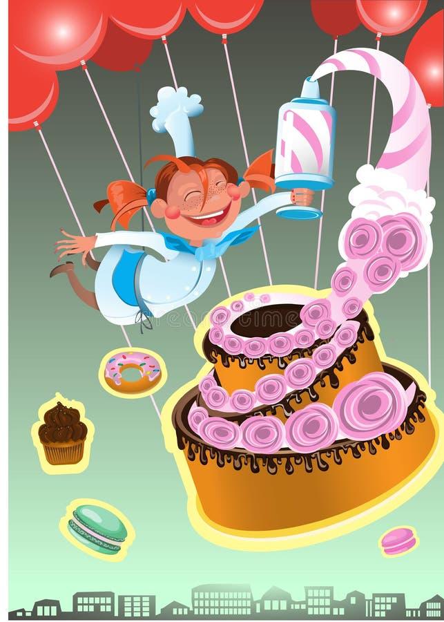 Иллюстрация кондитера вектора испеченного помадкой изолировала установленные торты Торт клубники на праздник иллюстрация штока