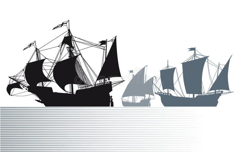 Корабли Christopher Columbus иллюстрация вектора