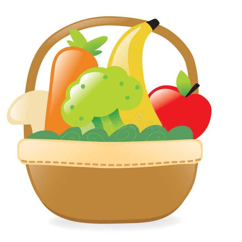 Свежие фрукты и veggies в корзине бесплатная иллюстрация