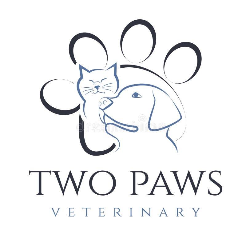 Иллюстрация кота и собаки, для ветеринарной клиники иллюстрация вектора
