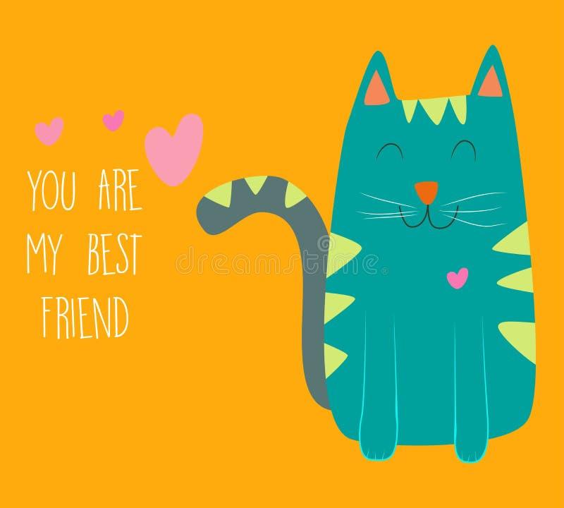 Иллюстрация кота лучший друг мой вы иллюстрация вектора